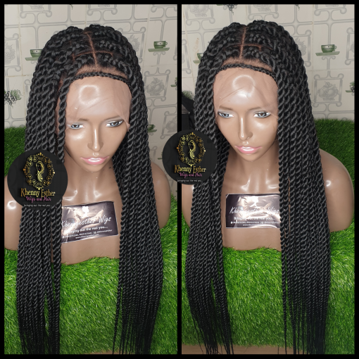 Full Lace Wig Centre Part Rope Twist Khennyesther Wigs